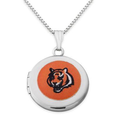 NFL Cincinnati Bengals Sterling Silver 18-Inch Chain 16mm Round Team Logo Locket Necklace