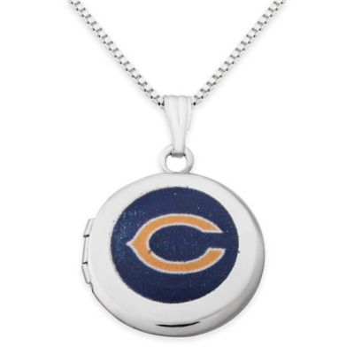 NFL Chicago Bears Sterling Silver 18-Inch Chain 16mm Round Team Logo Locket Necklace