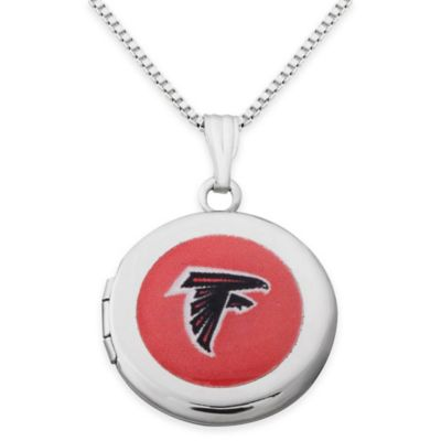 NFL Atlanta Falcons Sterling Silver 18-Inch Chain 16mm Round Team Logo Locket Necklace