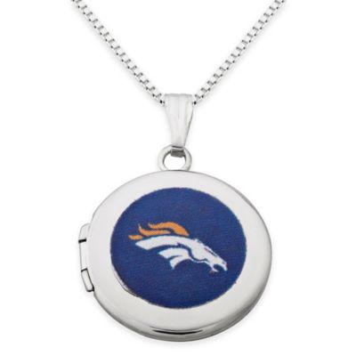 NFL Denver Broncos Sterling Silver 18-Inch Chain 16mm Round Team Logo Locket Necklace