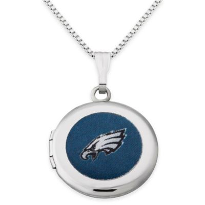 NFL Philadelphia Eagles Sterling Silver 18-Inch Chain 16mm Round Team Logo Locket Necklace