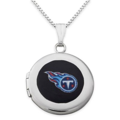 NFL Tennessee Titans Sterling Silver 18-Inch Chain 16mm Round Team Logo Locket Necklace
