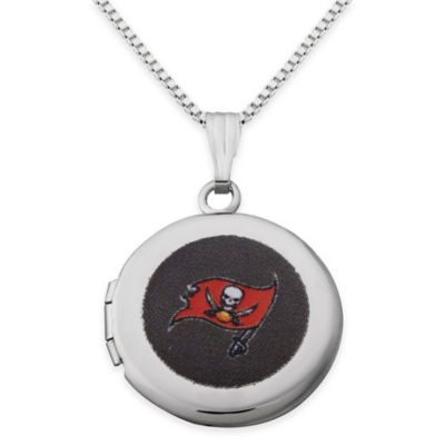 NFL Tampa Bay Buccaneers Sterling Silver 18-Inch Chain 16mm Round Team Logo Locket Necklace