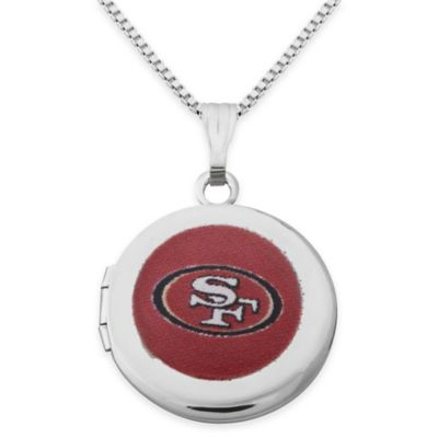 NFL San Francisco 49ers Sterling Silver 18-Inch Chain 16mm Round Team Logo Locket Necklace