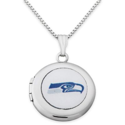 NFL Seattle Seahawks Sterling Silver 18-Inch Chain 16mm Round Team Logo Locket Necklace
