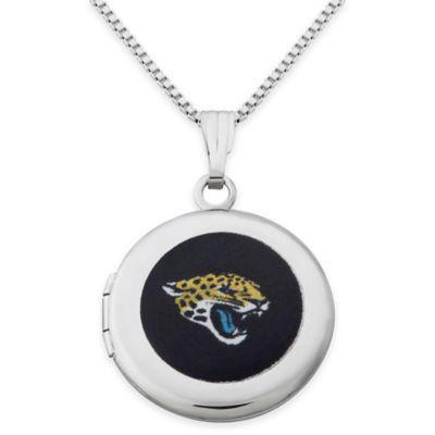 NFL Jacksonville Jaguars Sterling Silver 18-Inch Chain 16mm Round Team Logo Locket Necklace