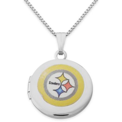 NFL Pittsburgh Stealers Sterling Silver 18-Inch Chain 16mm Round Team Logo Locket Necklace