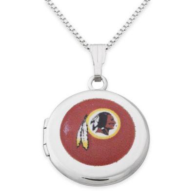 NFL Washington Redskins Sterling Silver 18-Inch Chain 16mm Round Team Logo Locket Necklace