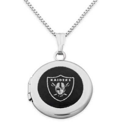NFL Oakland Raiders Sterling Silver 18-Inch Chain 16mm Round Team Logo Locket Necklace