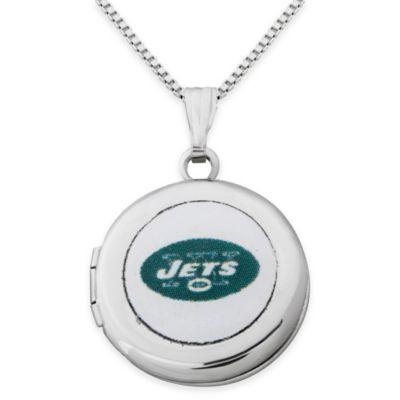 NFL New York Jets Sterling Silver 18-Inch Chain 16mm Round Team Logo Locket Necklace