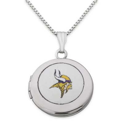 NFL Minnesota Vikings Sterling Silver 18-Inch Chain 16mm Round Team Logo Locket Necklace