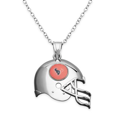 NFL Houston Texans Sterling Silver 18-Inch Chain Helmet Pendant Necklace