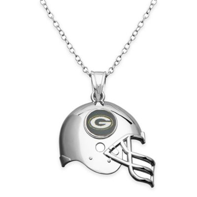 NFL Green Bay Packers Sterling Silver 18-Inch Chain Helmet Pendant Necklace