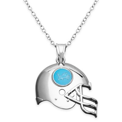 NFL Detroit Lions Sterling Silver 18-Inch Chain Helmet Pendant Necklace