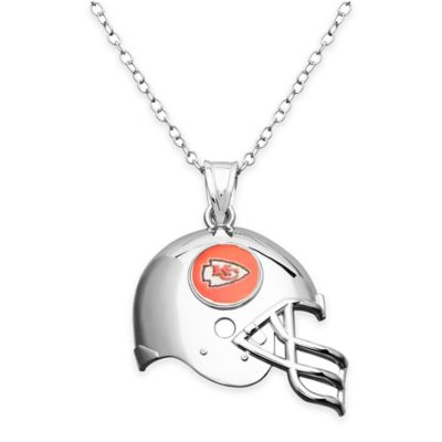 NFL Kansas City Chiefs Sterling Silver 18-Inch Chain Helmet Pendant Necklace