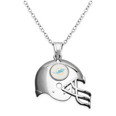 NFL Miami Dolphins Sterling Silver 18-Inch Chain Helmet Pendant Necklace
