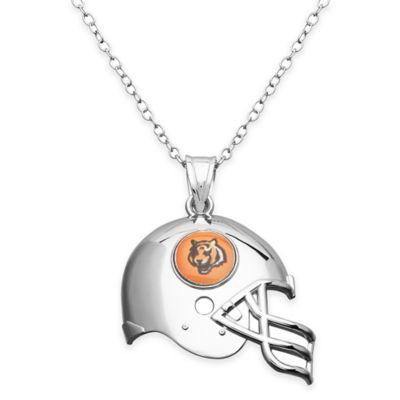NFL Cincinnati Bengals Sterling Silver 18-Inch Chain Helmet Pendant Necklace