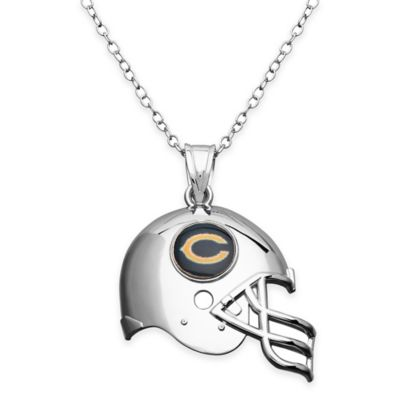 NFL Chicago Bears Sterling Silver 18-Inch Chain Helmet Pendant Necklace