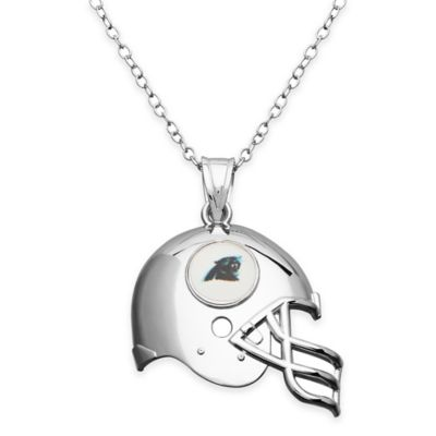 NFL Carolina Panthers Sterling Silver 18-Inch Chain Helmet Pendant Necklace