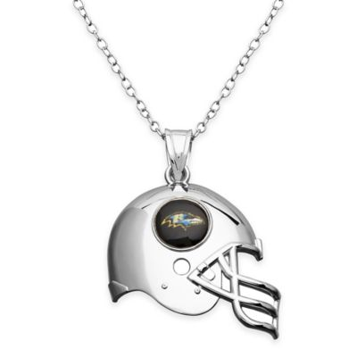 NFL Baltimore Ravens Sterling Silver 18-Inch Chain Helmet Pendant Necklace