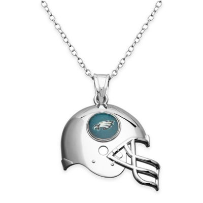 NFL Philadelphia Eagles Sterling Silver 18-Inch Chain Helmet Pendant Necklace