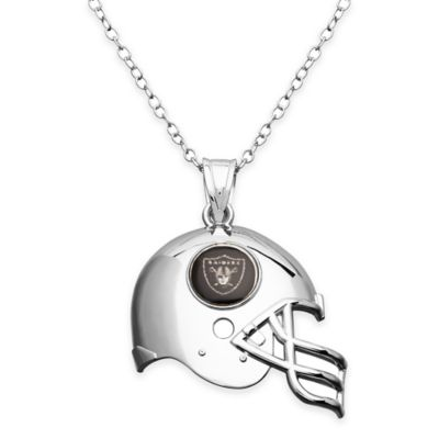 NFL Oakland Raiders Sterling Silver 18-Inch Chain Helmet Pendant Necklace