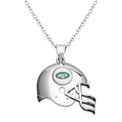 NFL New York Jets Sterling Silver 18-Inch Chain Helmet Pendant Necklace