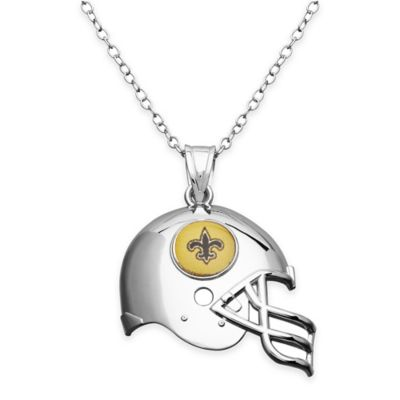NFL New Orleans Saints Sterling Silver 18-Inch Chain Helmet Pendant Necklace