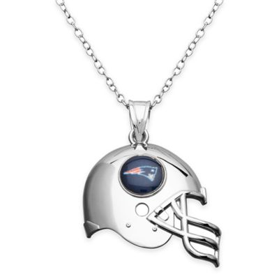 NFL New England Patriots Sterling Silver 18-Inch Chain Helmet Pendant Necklace