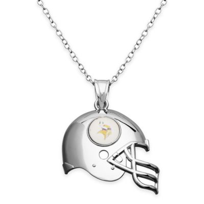 NFL Minnesota Vikings Sterling Silver 18-Inch Chain Helmet Pendant Necklace