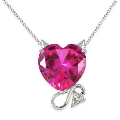Sterling Silver Cubic Zirconia and Created Ruby Devil Heart Pendant