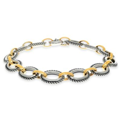Phillip Gavriel Sterling Silver and 18K Gold 8-Inch Link Bracelet