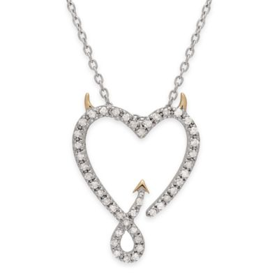 Sterling Silver and 14K Rose Gold Plated .30 cttw Diamond 18-Inch Chain Devil Heart Pendant Necklace