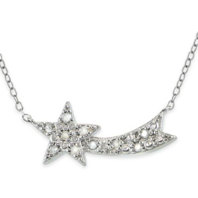 Sterling Silver .10 cttw Diamond Shooting Star 18-Inch Chain Pendant Necklace
