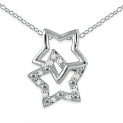 Sterling Silver .10 cttw Diamond 18-Inch Chain Double Star Pendant Necklace