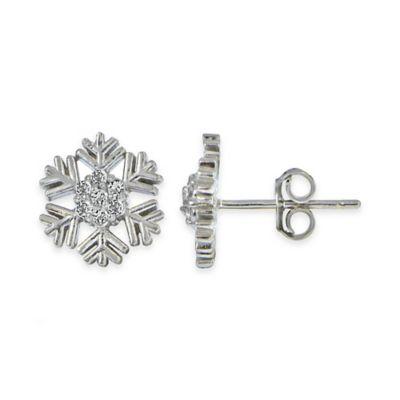 Sterling Silver White Topaz Snowflake Stud Earrings