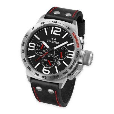 TW Steel Unisex 50mm Canteen Chronograph Watch in Brushed Stainless Steel with Black Leather Strap