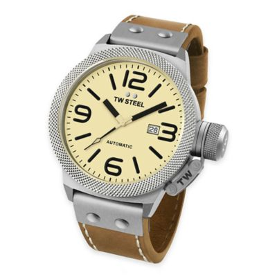 TW Steel Unisex 45mm Canteen Watch in Brushed Stainless Steel with Beige Dial and Brown Strap