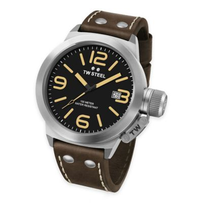 TW Steel Unisex 50mm Canteen Watch in Stainless Steel with Black Dial and Dark Brown Strap