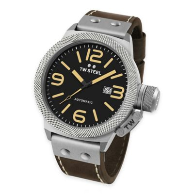 TW Steel Unisex 50mm Canteen Watch in Brushed Stainless Steel with Brown Leather Strap