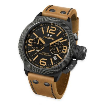 TW Steel Unisex 50mm Canteen Chrono Watch in Brushed PVD Black Stainless Steel with Camel Strap