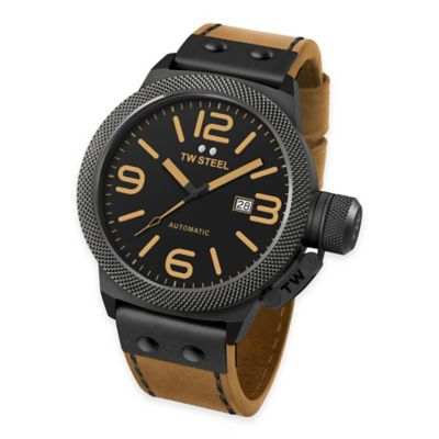 TW Steel Unisex 50mm Canteen Watch in Brushed PVD Black Stainless Steel with Camel Strap
