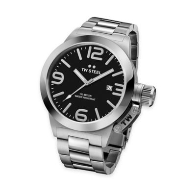 TW Steel Unisex 45mm Canteen Bracelet Watch in Stainless Steel with Black Dial