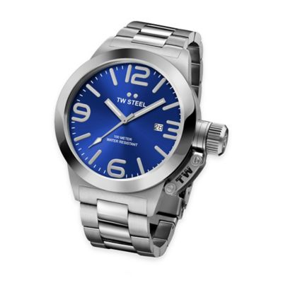 TW Steel Unisex 50mm Canteen Bracelet Watch in Brushed Stainless Steel with Blue Dial