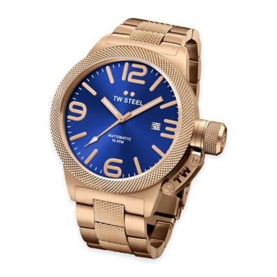 TW Steel Unisex 45mm Canteen Hammered Mid-Piece Watch in Gold-Plated Stainless Steel with Blue Dial
