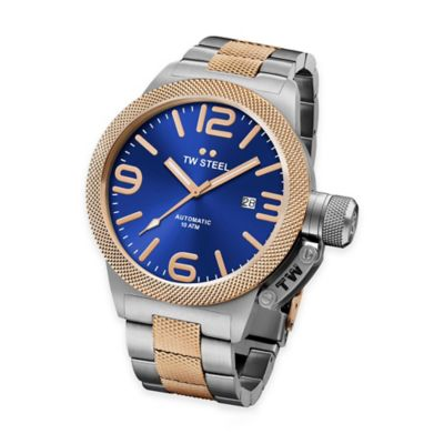 TW Steel Unisex 45mm Canteen Hammered Mid-Piece Watch in Two-Tone Stainless Steel with Blue Dial