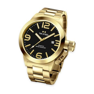 TW Steel Unisex 45mm Canteen Bracelet Watch in Yellow Gold-Plated Stainless Steel with Black Dial