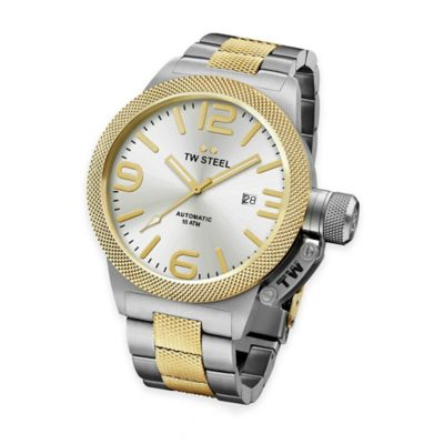TW Steel Unisex 45mm Canteen Hammered Bracelet Watch in Two-Tone Stainless Steel w/Silvertone Dial