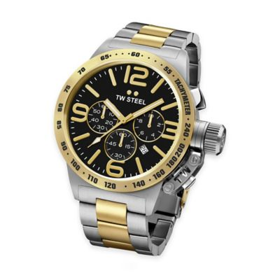 TW Steel Unisex 45mm Canteen Chronograph Watch in Two-Tone Stainless Steel with Black Dial