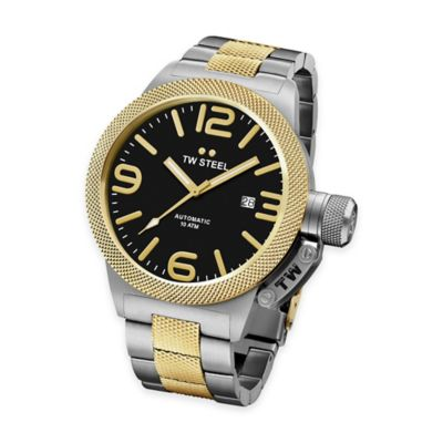 TW Steel Unisex 45mm Canteen Hammered Bracelet Watch in Two-Tone Stainless Steel with Black Dial